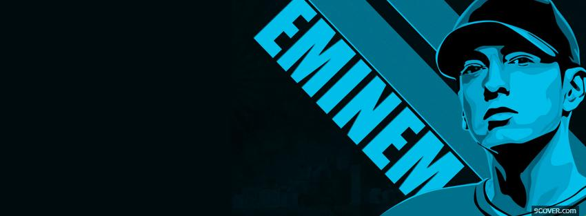 Photo music eminem in blue Facebook Cover for Free