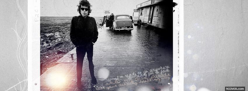 Photo bob dylan outside with car Facebook Cover for Free