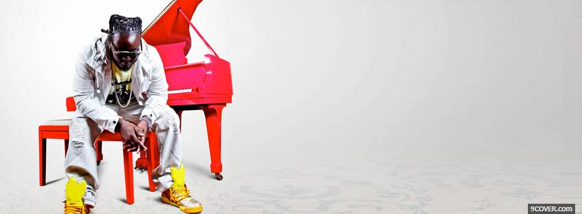 Photo music t pain with red piano Facebook Cover for Free