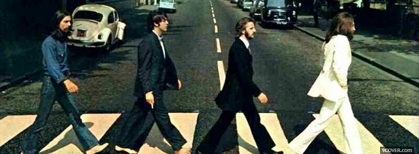 Photo beatles walking on the street Facebook Cover for Free