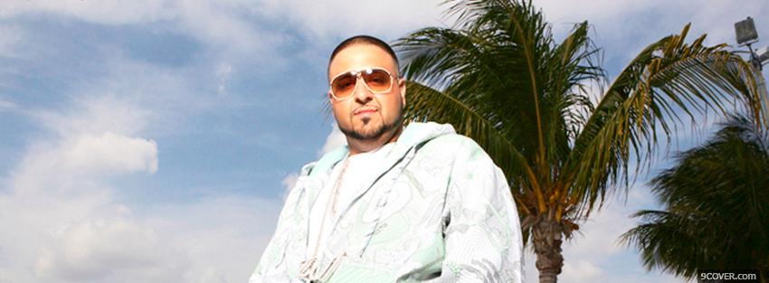 Photo dj khaled with palm trees Facebook Cover for Free