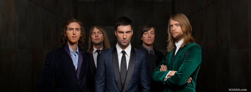 Photo serious maroon 5 in suits Facebook Cover for Free