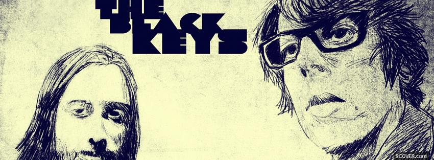 Photo black and white the black keys Facebook Cover for Free
