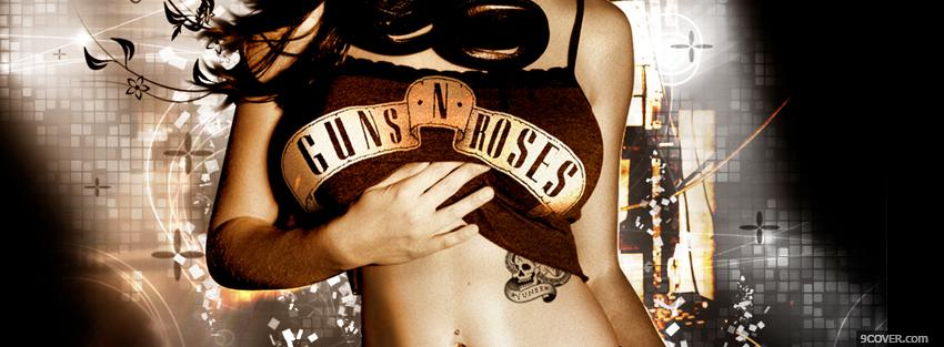 Photo woman with guns n roses shirt Facebook Cover for Free