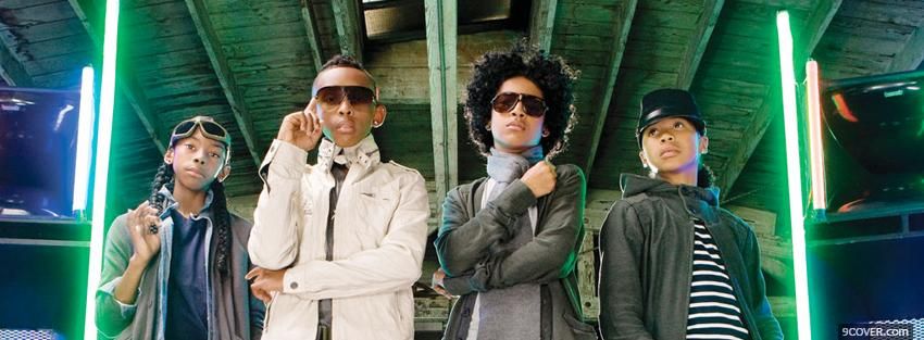 Photo mindless behavior with neons music Facebook Cover for Free