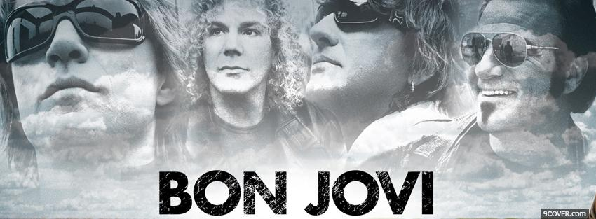 Photo bon jovi band black and white Facebook Cover for Free