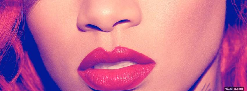 Photo rihanna face close up Facebook Cover for Free