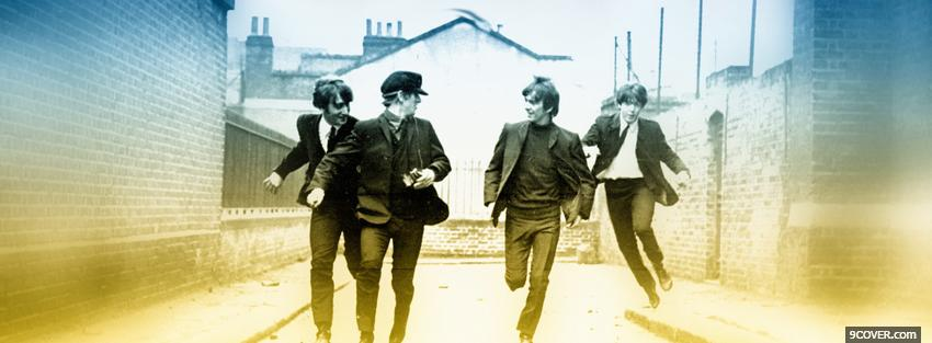 Photo the beatles running Facebook Cover for Free