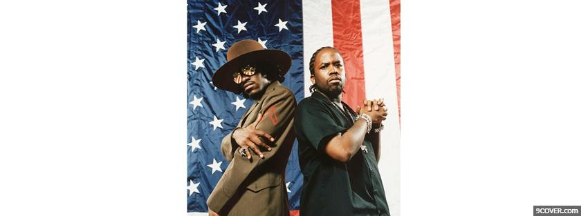Photo andre 3000 with american flag Facebook Cover for Free