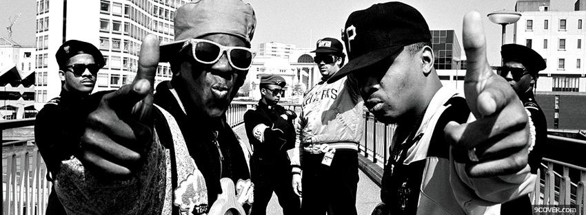 Photo public enemy black and white Facebook Cover for Free