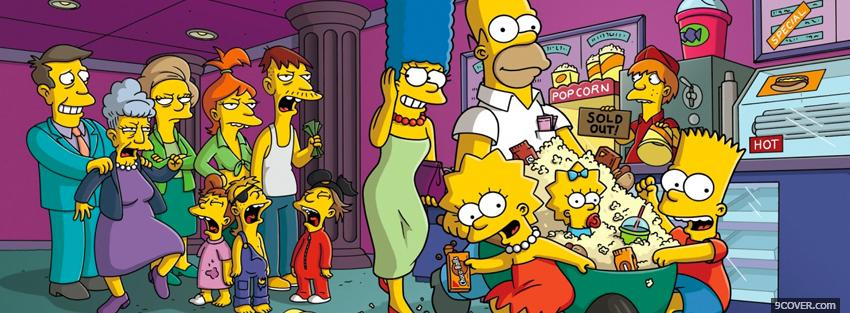 Photo the whole cast of the simpsons Facebook Cover for Free