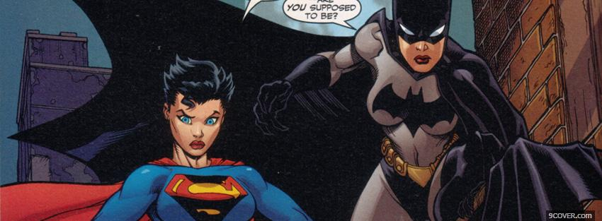 Photo batwoman and superwoman cartoons Facebook Cover for Free