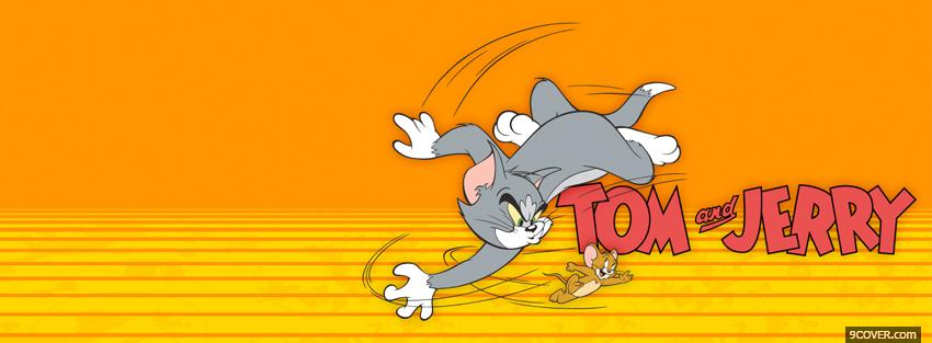 Photo happy tom and jerry running Facebook Cover for Free