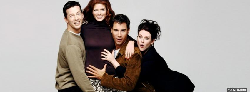 Photo cast of will and grace Facebook Cover for Free