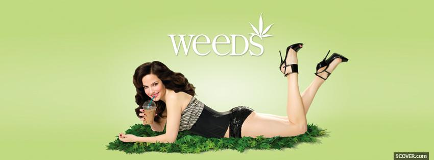 Photo tv shows weeds laying in grass Facebook Cover for Free