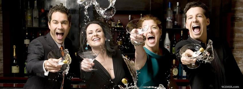 Photo will and grace with drinks Facebook Cover for Free