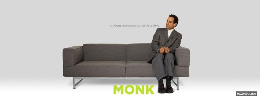 Photo tv shows monk on grey couch Facebook Cover for Free
