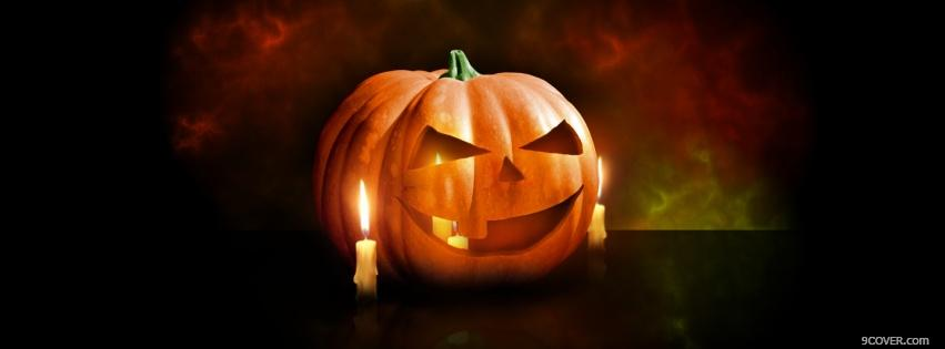 Photo candles with halloween pumpkin Facebook Cover for Free