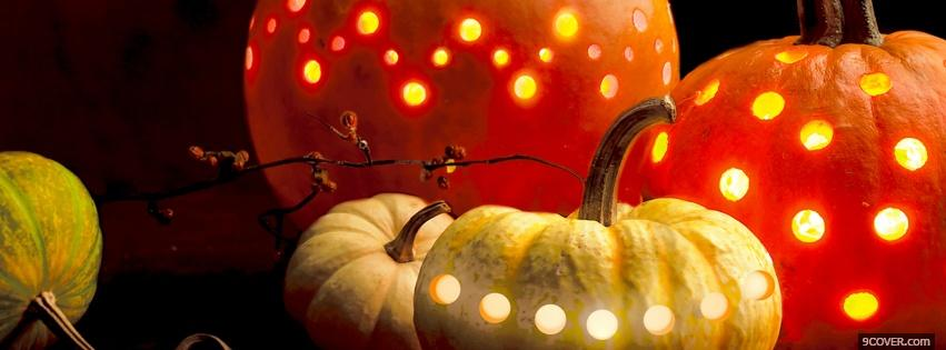 Photo colorful halloween pumpkins Facebook Cover for Free