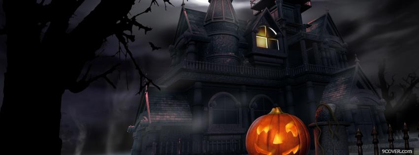 Photo dark and cloudy house Facebook Cover for Free