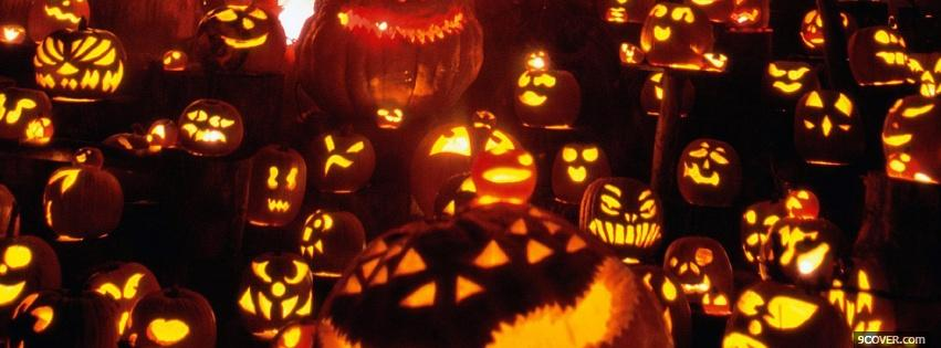 Photo different carved pumpkins Facebook Cover for Free