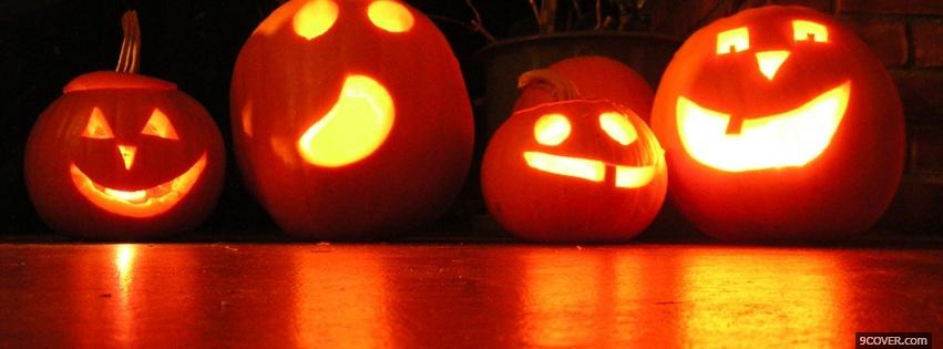 Photo four carved pumpkins Facebook Cover for Free