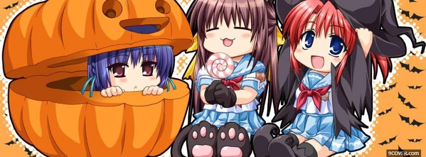 Photo manga in a pumpkin Facebook Cover for Free