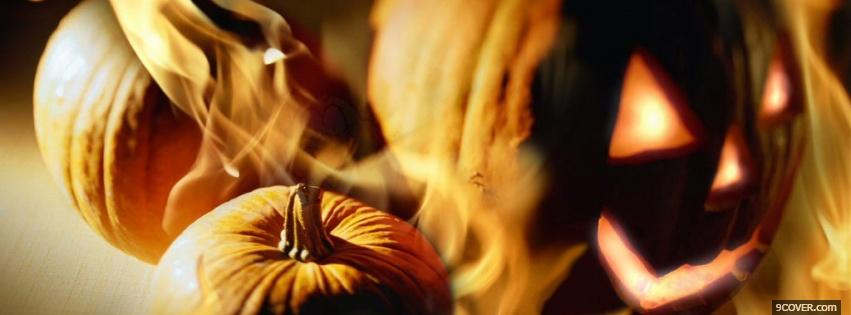Photo pumpkin on fire halloween Facebook Cover for Free