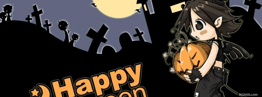 Photo Halloween And Manga At Night Facebook Cover For Free