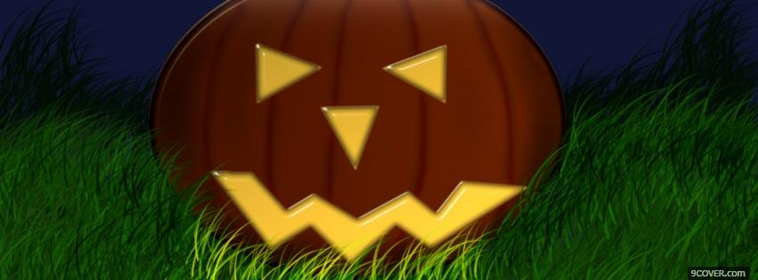 Photo pumpkin in grass halloween Facebook Cover for Free