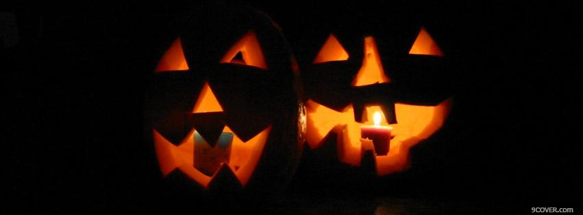 Photo spooky halloween pumpkins Facebook Cover for Free