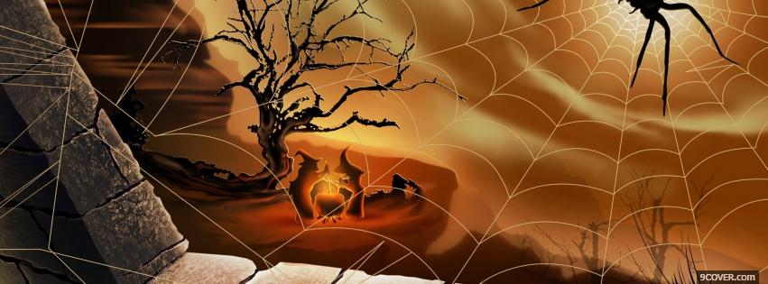 Photo spooky halloween spider Facebook Cover for Free