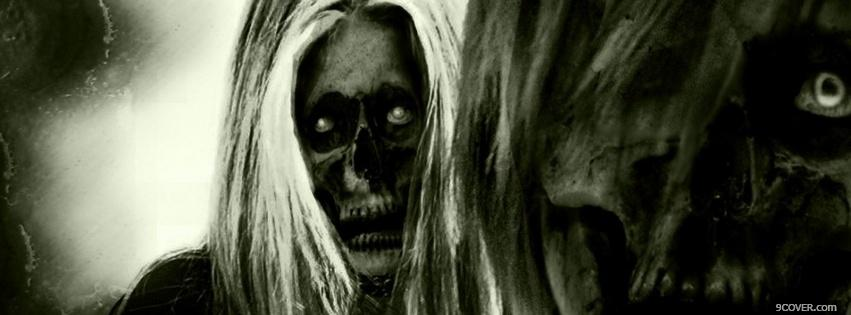 Photo terrifying skeletons halloween Facebook Cover for Free