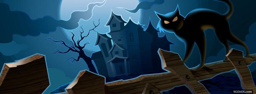 Photo black cat and haunted house Facebook Cover for Free