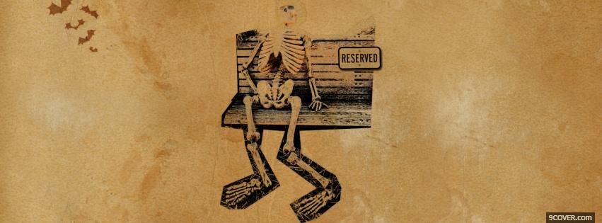 Photo skeleton on a bench halloween Facebook Cover for Free