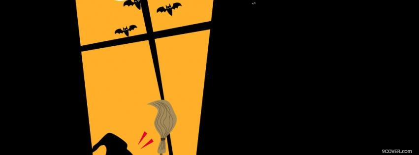Photo window with bats halloween Facebook Cover for Free