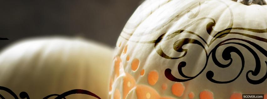 Photo decorated white pumpkins Facebook Cover for Free