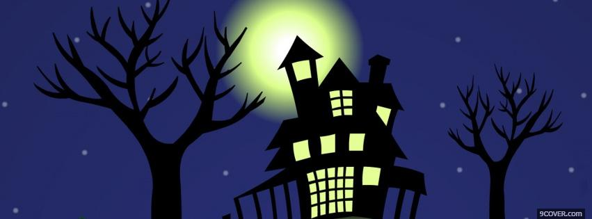Photo haunted house at night Facebook Cover for Free