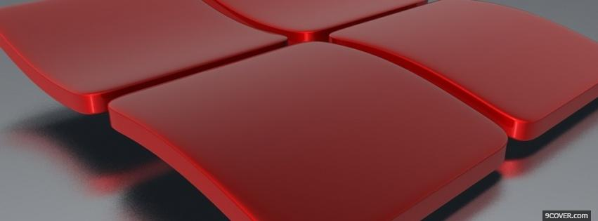 Photo 3d red windows computers Facebook Cover for Free
