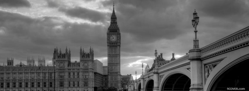 Photo london black and white Facebook Cover for Free