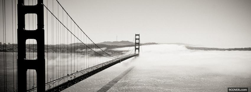 Photo long black and white bridge Facebook Cover for Free