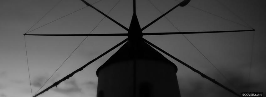 Photo old black and white windmill Facebook Cover for Free