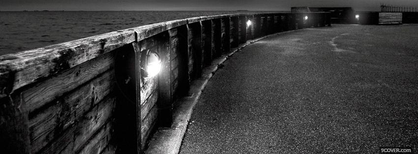 Photo outside black and white alley Facebook Cover for Free