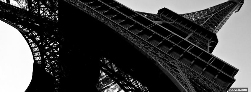 Photo the eiffel tower black and white Facebook Cover for Free