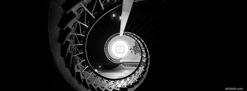 Photo abstract black and white stairs Facebook Cover for Free