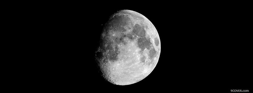 Photo black and white moon Facebook Cover for Free