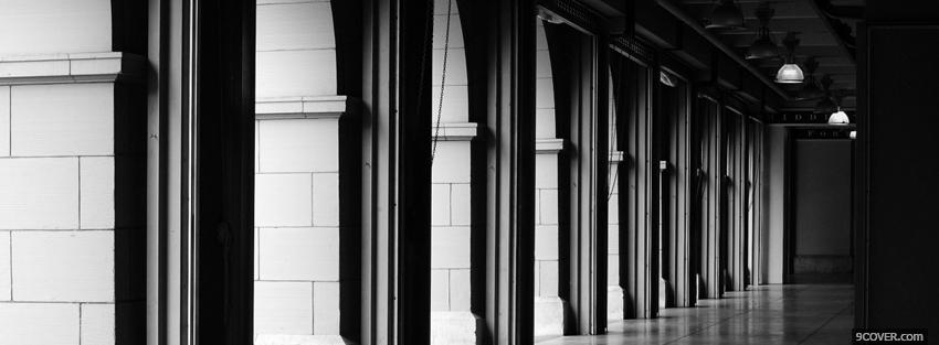 Photo hallway black and white Facebook Cover for Free