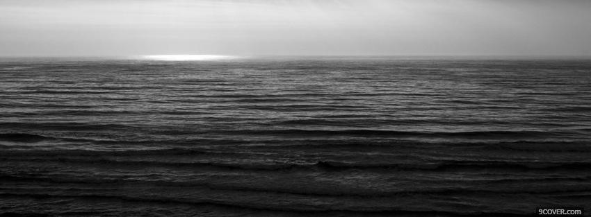 Photo smooth sea black and white Facebook Cover for Free