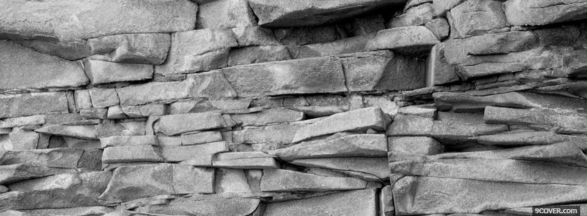 Photo blakc and white rocky wall Facebook Cover for Free