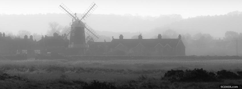 Photo fog and windmill Facebook Cover for Free